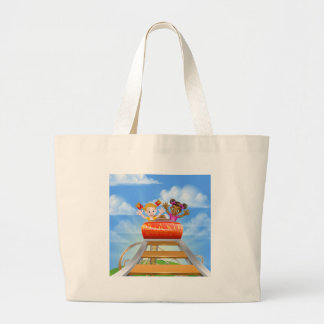 Riding Roller Coaster Large Tote Bag