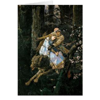 Riding the Grey Wolf Fantasy Art Card