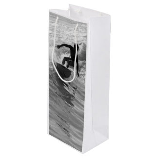 Riding The Wave Grayscale Wine Gift Bag