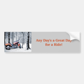 Riding Through Woods on a Snowy Day Bumper Sticker