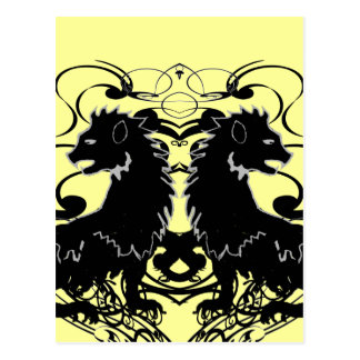 Rielaboration of Vintage Lions with Swirls Postcard