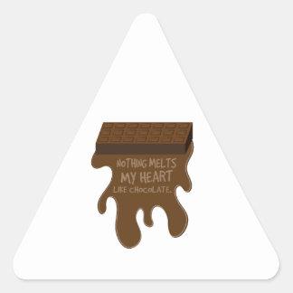 Rien ne fond mon coeur comme le chocolat sticker en triangle
