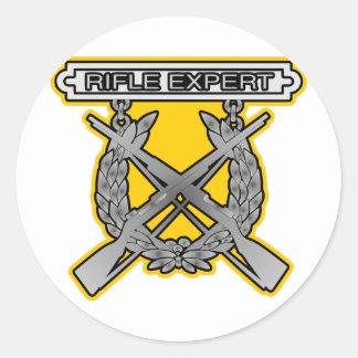 Rifle Expert Badge Classic Round Sticker