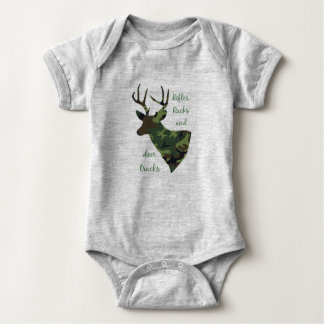 Rifles, Racks and Deer Tracks Camouflage Hunting Baby Bodysuit