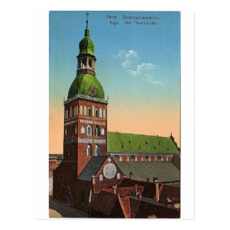 Riga cathedral vintage travel postcard
