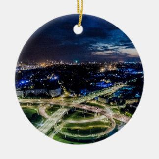 Riga Night Skyline Ceramic Ornament