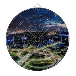Riga Night Skyline Dartboard