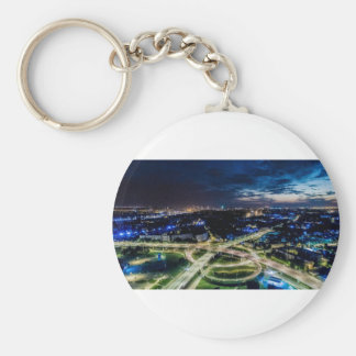 Riga Night Skyline Keychain