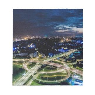 Riga Night Skyline Notepad