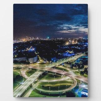 Riga Night Skyline Plaque