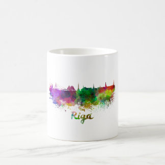 Riga skyline in watercolor coffee mug