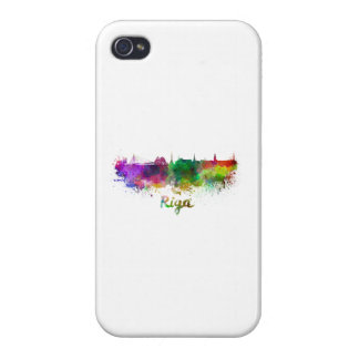 Riga skyline in watercolor iPhone 4 cases