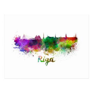 Riga skyline in watercolor postcard