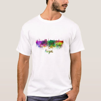 Riga skyline in watercolor T-Shirt