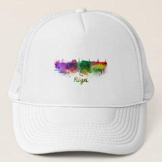 Riga skyline in watercolor trucker hat