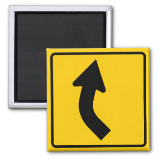 Right Curve Ahead Highway Sign Magnet