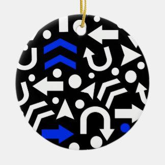 Right direction - blue round ceramic ornament