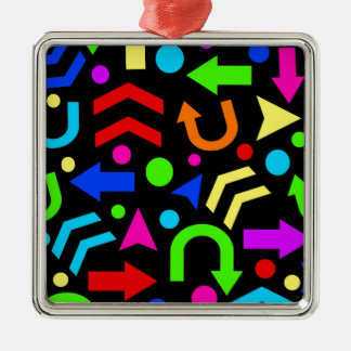 Right direction - colorful Silver-Colored square ornament