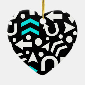 Right direction - cyan ceramic heart ornament