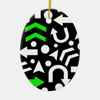Right direction - green ceramic oval ornament