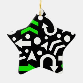 Right direction - green ceramic star ornament