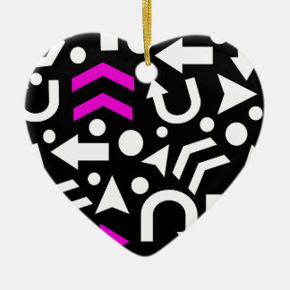 Right direction - magenta ceramic heart ornament