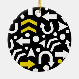 Right direction - yellow round ceramic ornament