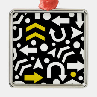Right direction - yellow Silver-Colored square ornament