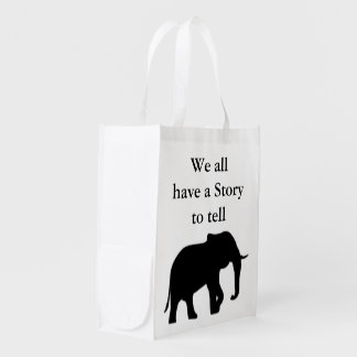 Right Elephant Silhouette black + your background Grocery Bags