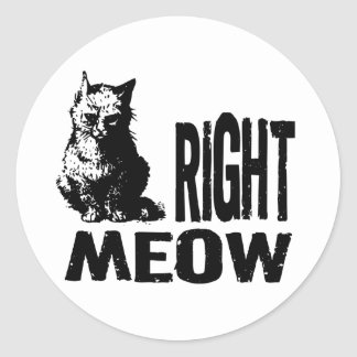 Right MEOW! Funny Evil Kitty Round Sticker