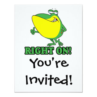 """right on thumbs up froggy 4.25"""" x 5.5"""" invitation card"""