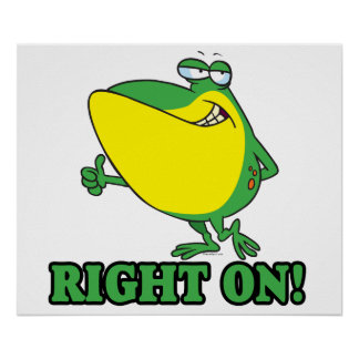 right on thumbs up froggy print