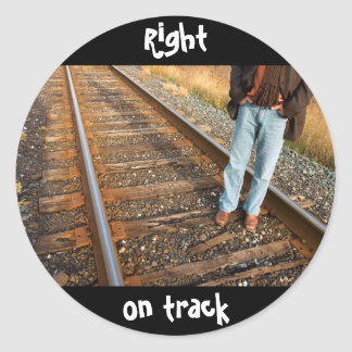 right on track classic round sticker