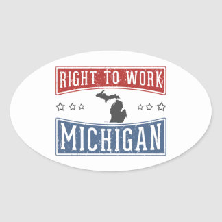 Right To Work Michigan Oval Sticker