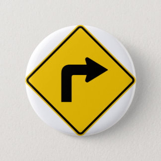 Right Turn Ahead Highway Sign 2 Inch Round Button