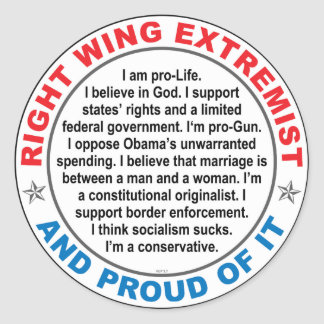 Right Wing Extremist Classic Round Sticker