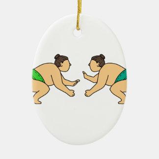Rikishi Sumo Wrestler Face Off Mono Line Ceramic Ornament