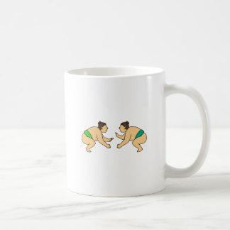 Rikishi Sumo Wrestler Face Off Mono Line Coffee Mug