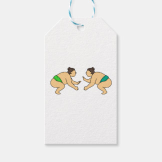 Rikishi Sumo Wrestler Face Off Mono Line Gift Tags