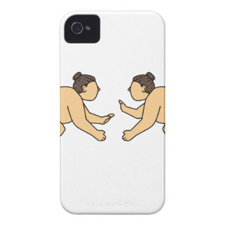 Rikishi Sumo Wrestler Face Off Mono Line iPhone 4 Cases