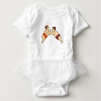 Rikishi Sumo Wrestler Pushing Side Mono Line Baby Bodysuit