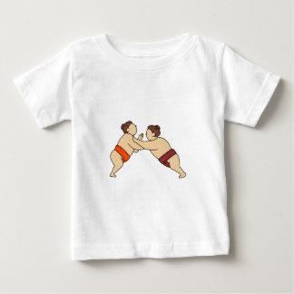 Rikishi Sumo Wrestler Pushing Side Mono Line Baby T-Shirt