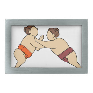 Rikishi Sumo Wrestler Pushing Side Mono Line Belt Buckle