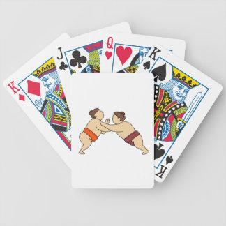 Rikishi Sumo Wrestler Pushing Side Mono Line Bicycle Playing Cards