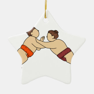 Rikishi Sumo Wrestler Pushing Side Mono Line Ceramic Ornament