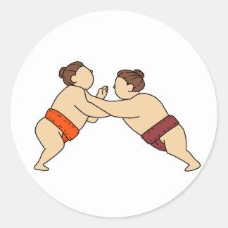 Rikishi Sumo Wrestler Pushing Side Mono Line Classic Round Sticker