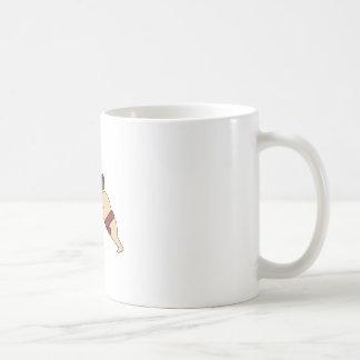 Rikishi Sumo Wrestler Pushing Side Mono Line Coffee Mug