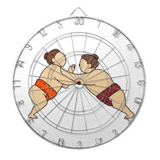 Rikishi Sumo Wrestler Pushing Side Mono Line Dartboard