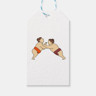 Rikishi Sumo Wrestler Pushing Side Mono Line Gift Tags