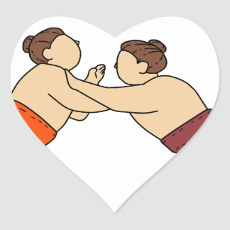Rikishi Sumo Wrestler Pushing Side Mono Line Heart Sticker